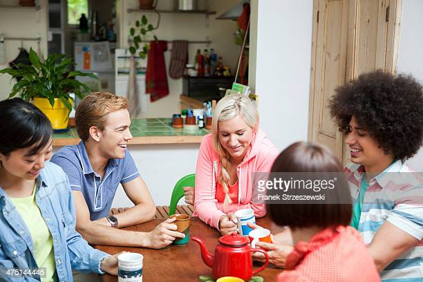 Group of young friends chatting around kitchen table