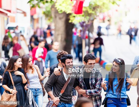 Group of young friends on Bahariye Street Istanbul