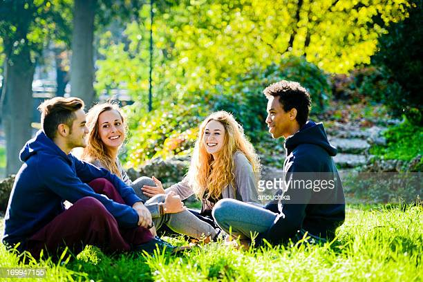 Group of young happy friends sitting in park