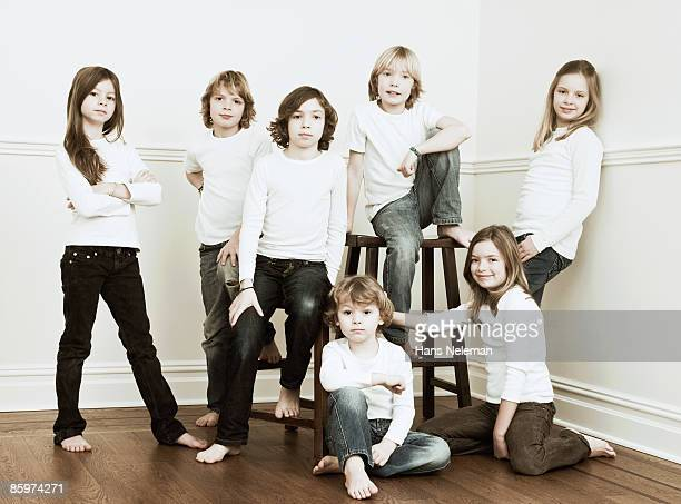 Group of young kids, posing