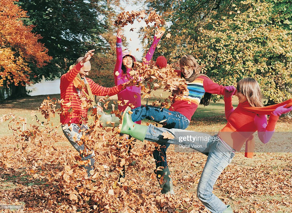 Group of Young Men and Women Kicking Leaves in a Park : Stock Photo