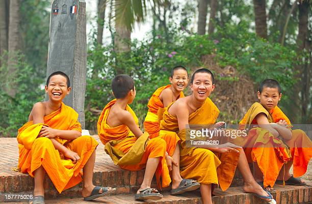 Group of young monks laughing, Laung Prabang, Laos