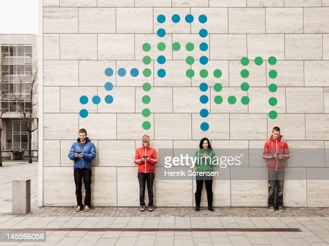 Group of young people connected with dots