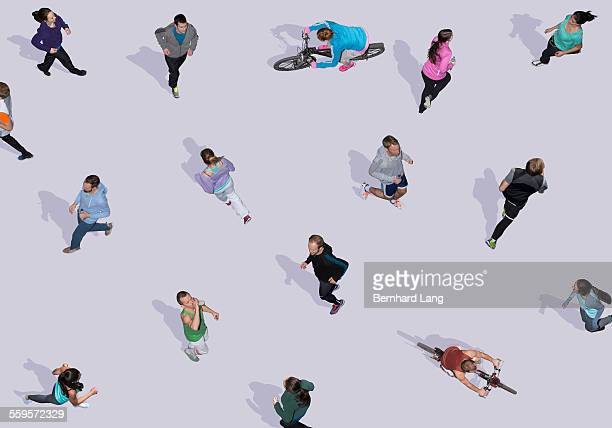 Group of young people doing sports, Aerial Views