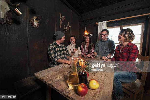 Group of young people drinking in mountain hut
