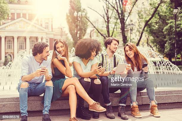 Group of young people hanging out