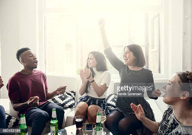 group of young people having a party