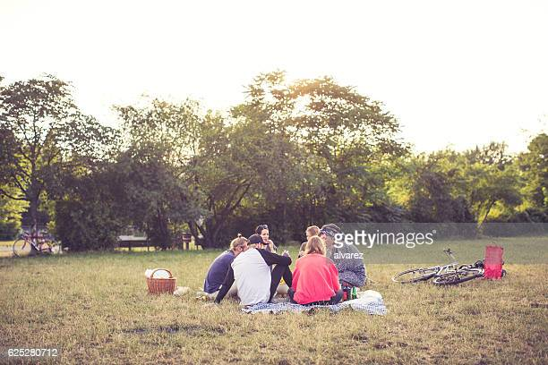 Group of young people having a picnic