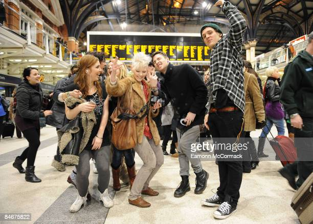 A group of young people join a crowd of flashmob dancers congregating at London Liverpool Street Station on February 06 2009 in London England