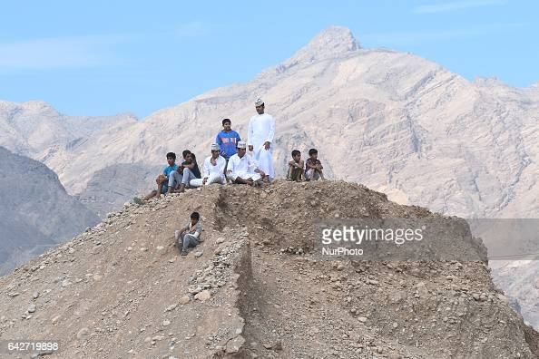 A group of young people on the top of a hill in Samail On Saturday February 18 in Samail Ad Dakhiliyah Region Oman