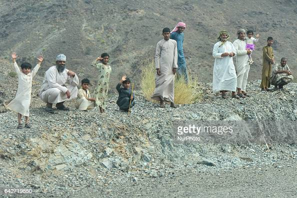 A group of young people on the top of a hill nearQuafisah On Saturday February 18 in Samail Ad Dakhiliyah Region Oman