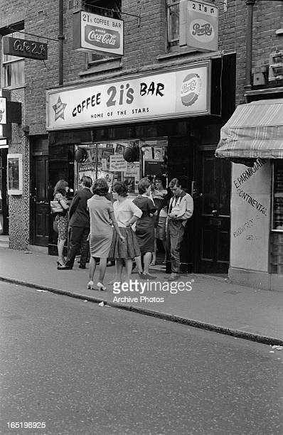 A group of young people outside the 2 I's coffee bar in Soho London April 1961