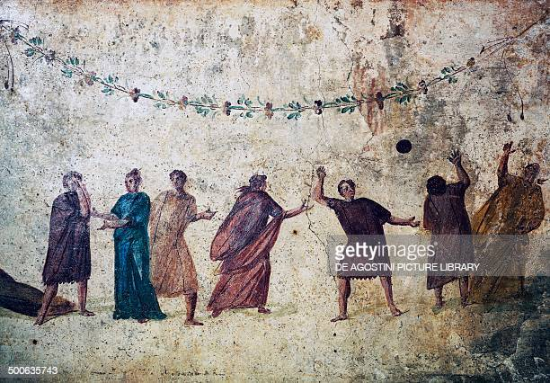 Group of young people playing a ball game fresco from an underground tomb 1st century AD detail Rome Italy Roman civilisation 1st century AD Rome...
