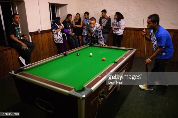 A group of young people socialise and play pool above the White Horse pub on October 21 2017 in Jamestown Saint Helena Following the introduction of...