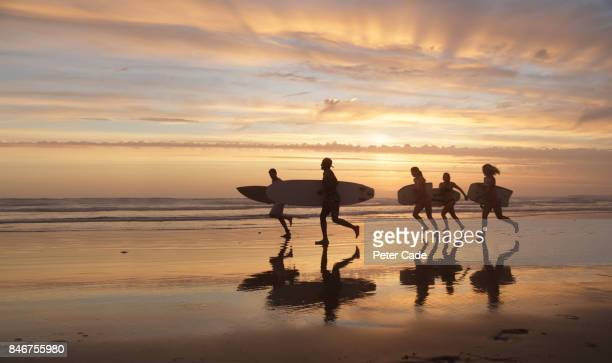 Group of young people walking on beach at sunset with boards