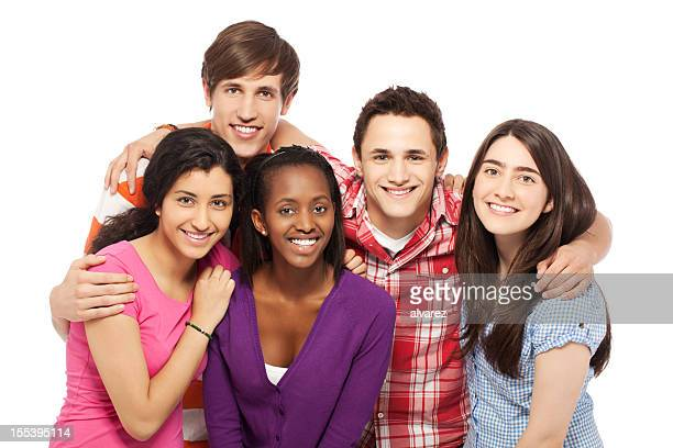 Group of young positive people