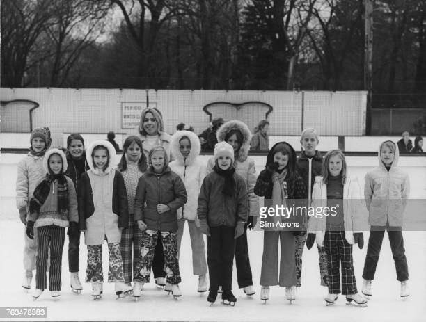 A group of young skaters on a rink in Lake Forest Illinois circa 1970 A Wonderful Time Slim Aarons