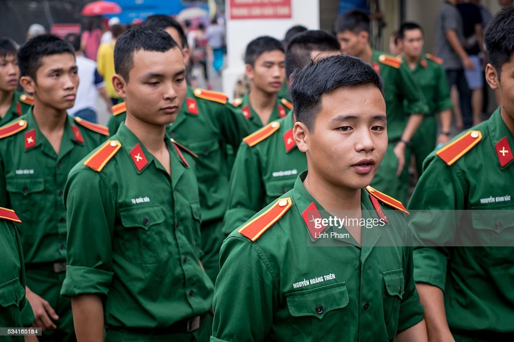 A group of young soldiers visits Vietnam Military History Museum on May 25, 2016 in Hanoi, Vietnam. U.S. President Obama made his historic visit to Vietnam on May 23 with an aim to strengthen the strategic and economic relationship between both countries four decades after the Vietnam war. During the visit, Obama announced the U.S. will fully lift its embargo on weapons and raised issues related to human rights while speaking to the youths on freedom of expression.