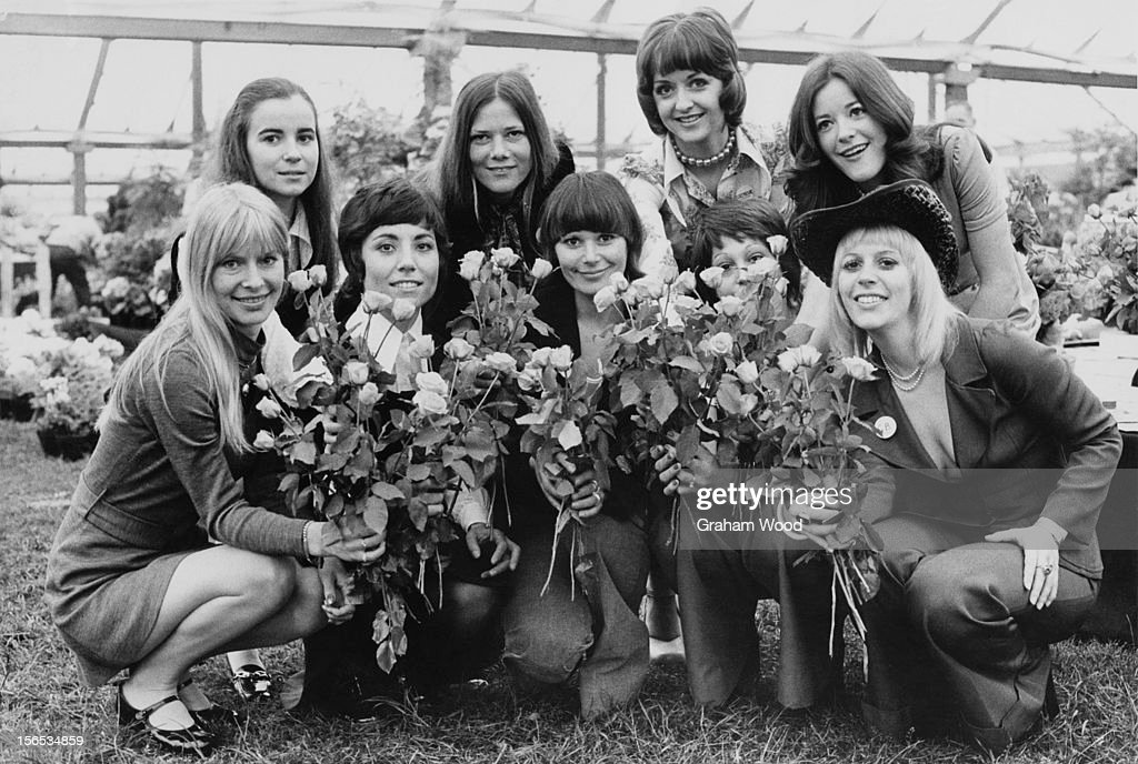 A group of young woman at the Chelsea Flower Show, London, May 1973.