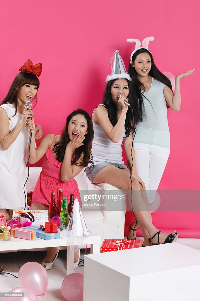 Group of young women at party : Stock Photo