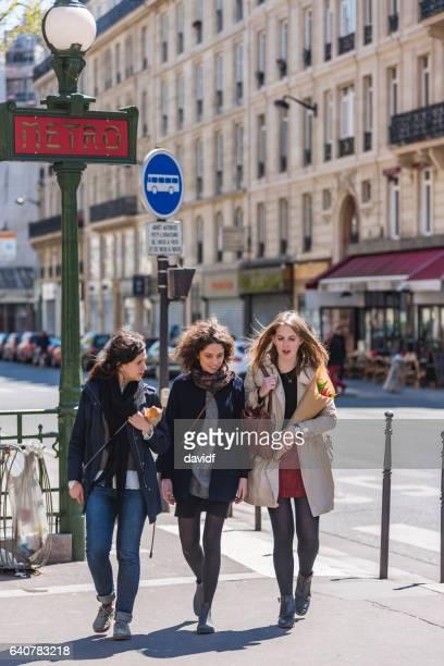 Group of Young Women Friends Walking in Paris