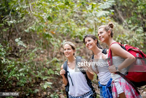 Group of young women hiking : Stock Photo