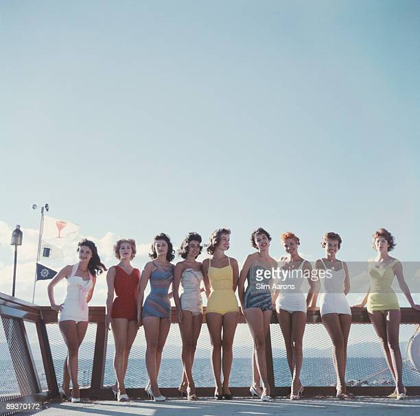 A group of young women in their bathing suits on the Nevada side of Lake Tahoe 1959
