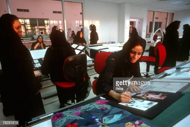 A group of young women participate in an Interior Design class at the Dar AlHekma College for Women where three majors Business Information Systems...