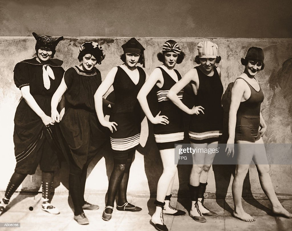 Group of young women wearing bathing suits, portrait (B&W sepia) : Stock Photo