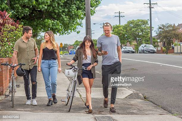 Group out walking streets of Sydney