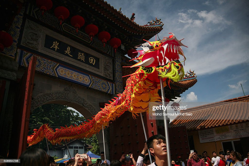 A group perform Dragon dance inside the Guan Yin temple during Lunar New Year of the monkey celebrations on February 8, 2016 outside Kuala Lumpur, Malaysia. According to the Chinese Calendar, the Lunar New Year which falls on February 8 this year marks the Year of the Monkey, the Chinese Lunar New Year also known as the Spring Festival is celebrated from the first day of the first month of the lunar year and ends with Lantern Festival on the Fifteenth day.
