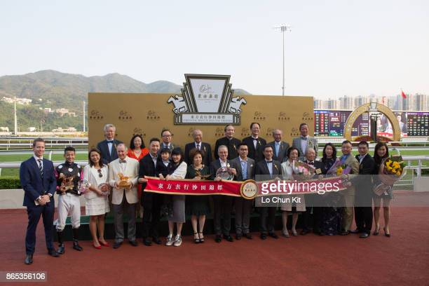 Group photo after the presentation ceremony of the Oriental Watch Sha Tin Trophy at Sha Tin racecourse on October 22 2017 in Hong Kong Hong Kong