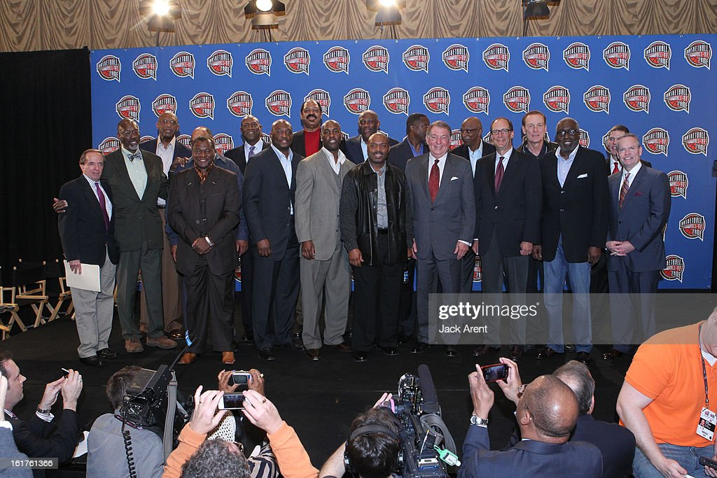 A group photo at the Hall of Fame press conference during of the 2013 NBA All-Star Weekend at the Hilton Americas Hotel on February 15, 2013 in Houston, Texas.