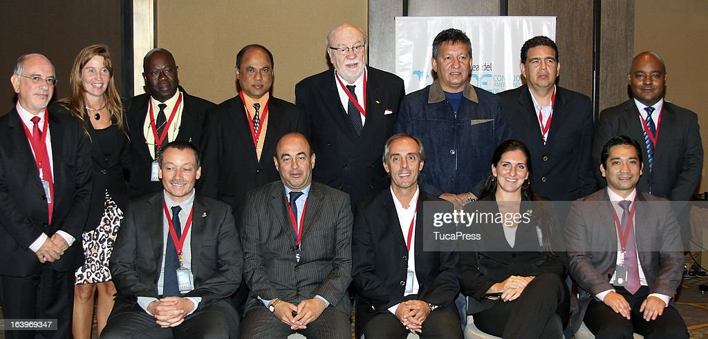Group photo during the Antidopping Commission Conference as part of XIX Sports Minister of America and Iberoamerica Meeting Organized by CID (which stands for Consejo Iberoamericano del Deporte) at Hilton Hotel on March 18, 2013 in Lima Peru.