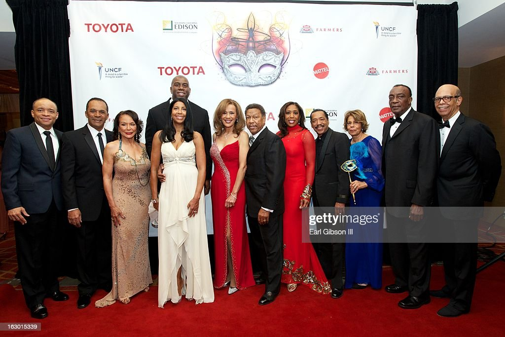 A group photo of all of the celebrities in attendance at the UNCF Mayor's Masked Ball Hosted By Mayor Antonio Villaraigosa at Hilton Universal City on March 2, 2013 in Universal City, California.
