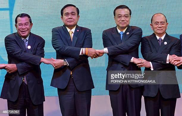 A group photo of Cambodian Prime Minister Hun Sen Thai Prime Minister Prayut Chanocha Chinese Prime Minister Li Keqiang Myanmar President Thein Sein...