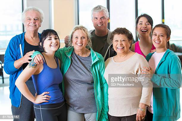 Group photo of friends after exercise class
