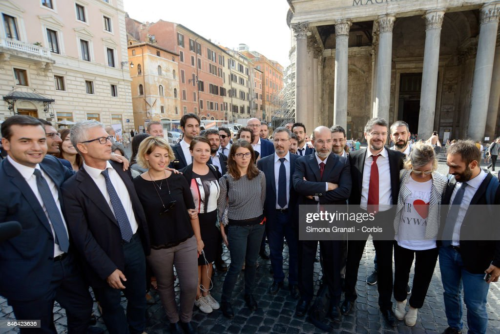 Group photo of Members and Senators of Moviment Five Stars during the demonstration in Pantheon Square to solicit approval of a whistleblower law, against corruption, on September 13, 2017 in Rome, Italy.
