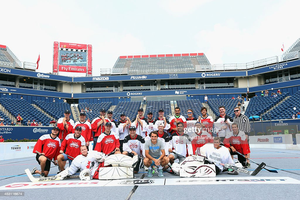 A group photo of NHL players and tennis players during Sportsnet Ball Hockey Challenge game at Rexall Centre at York University on August 3, 2014 in Toronto, Canada.