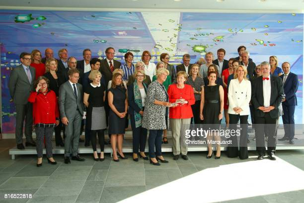 Group photo of the members of the round table 'Women In Culture And Media' including Angela Merkel Monika Gruetters Maria Furtwaengler and the...