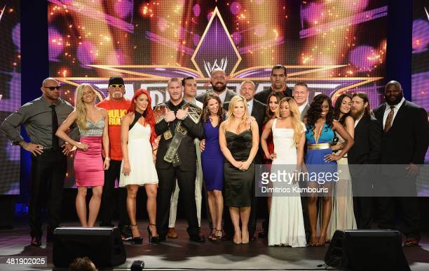 Group photo op at the WrestleMania 30 press conference at the Hard Rock Cafe New York on April 1 2014 in New York City
