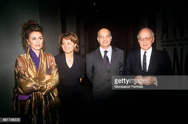 Group photo showing the mayor of Milan Gabriele Albertini with some members of his cabinet at the Triennale Design Museum on the occasion of the...