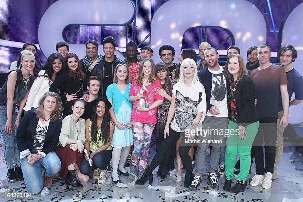 Group photo with all candidates jury members and music mentors attend the Final of 'Dein Song' of the TV Station KIKA on March 22 2013 in Huerth...