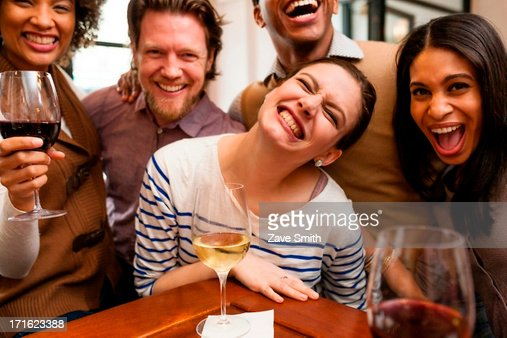 Group photo with huge smiles : Stock Photo