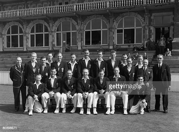 A group photograph of county champions Surrey County Cricket Club 25th August 1952 Standing left to right coach Andy Sandham Tony Lock Alan Brazier...