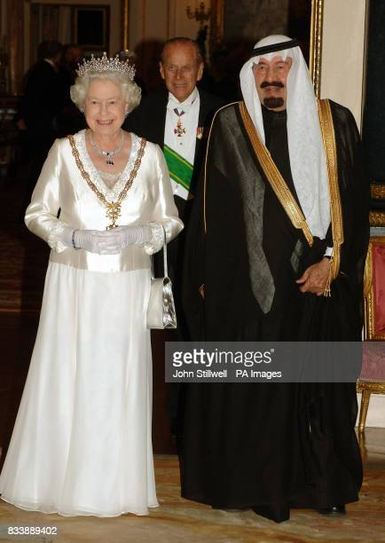 A group photograph of King Abdullah of Saudi Arabia with Queen Elizabeth II and The Duke of Edinburgh before the State Banquet at Buckingham Palace...