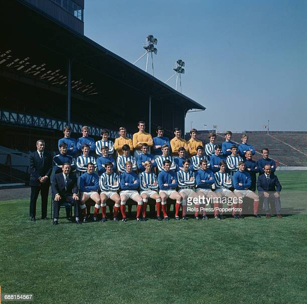 Group photograph of players and officials of Glasgow Rangers FC posed together on the pitch at Ibrox Stadium in Glasgow at the start of the 197071...