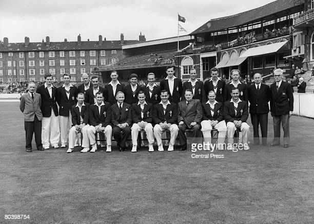 A group photograph of Surrey County Cricket Club county champions for the 6th successive year September 1957 Standing left to right Bert Strudwick...
