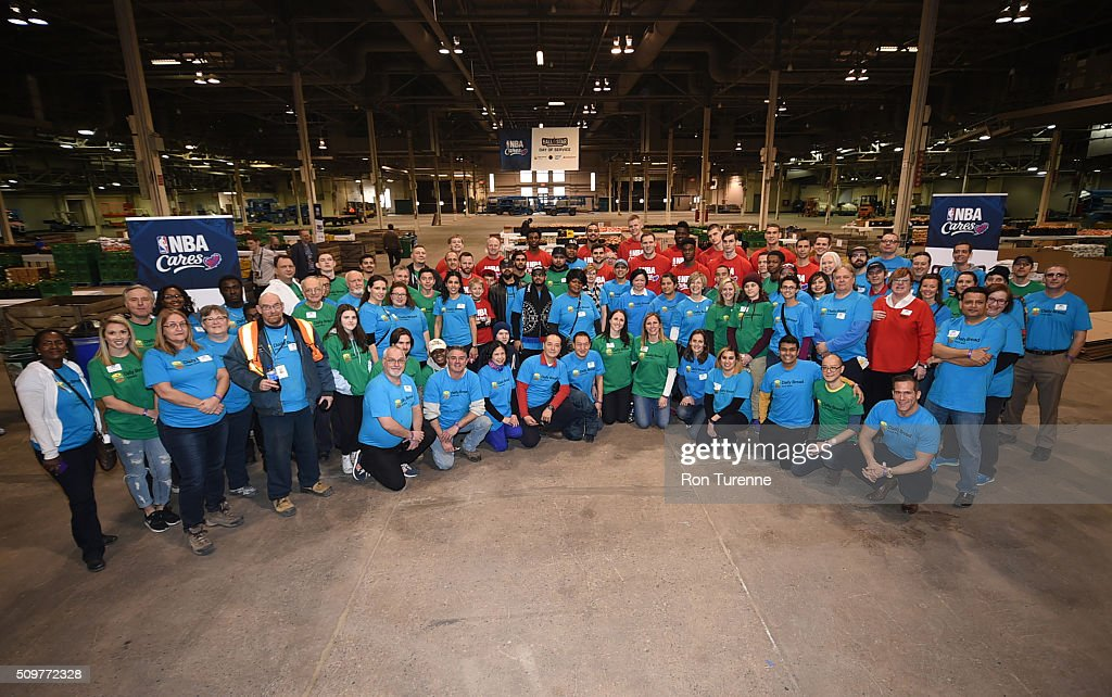 A group photos taken during the NBA Cares All-Star Day of Service as part of 2016 All-Star Weekend at NBA Centre Court of the Enercare Centre on February 12, 2016 in Toronto, Ontario, Canada.