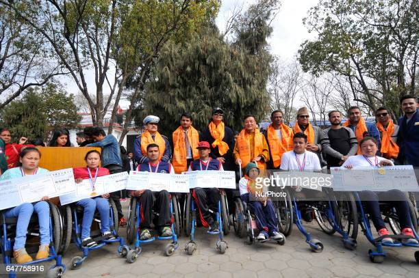 A Group photoshot along with the Guest and Winner after prize distribution of the 1st Bodhisattvas In Action Wheelchair 4Km Marathon competition at...